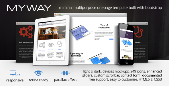 ThemeForest Myway Onepage Bootstrap Parallax Retina Template 4058880