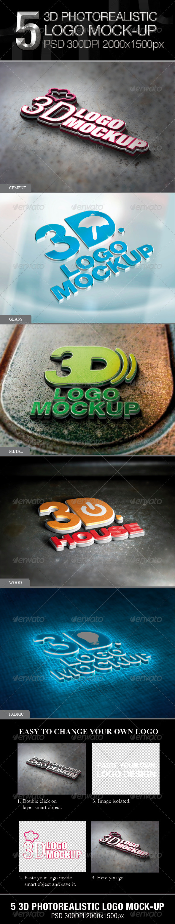 GraphicRiver 5 3D Photorealistic Logo Mock-up 4070798