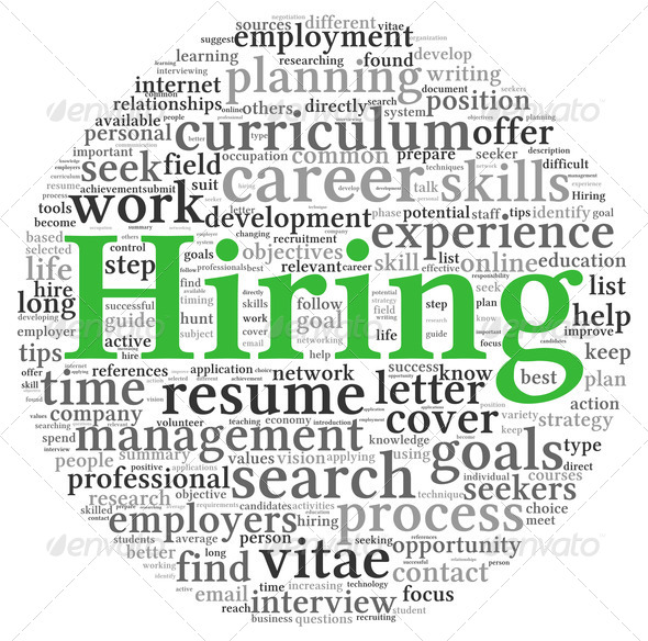 Hiring concept in word tag cloud - Stock Photo - Images