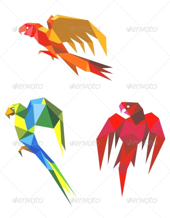 GraphicRiver Abstract Origami Parrots 4071342