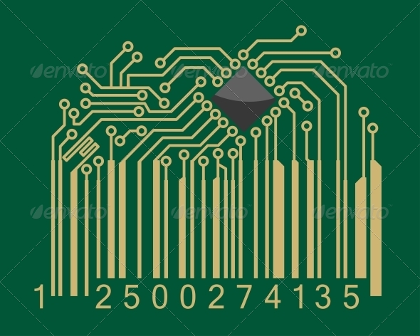 GraphicRiver Bar code with computer motherboard elements 4071360