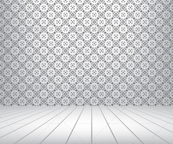 PhotoDune White room with pattern wall and wooden floor 4071520