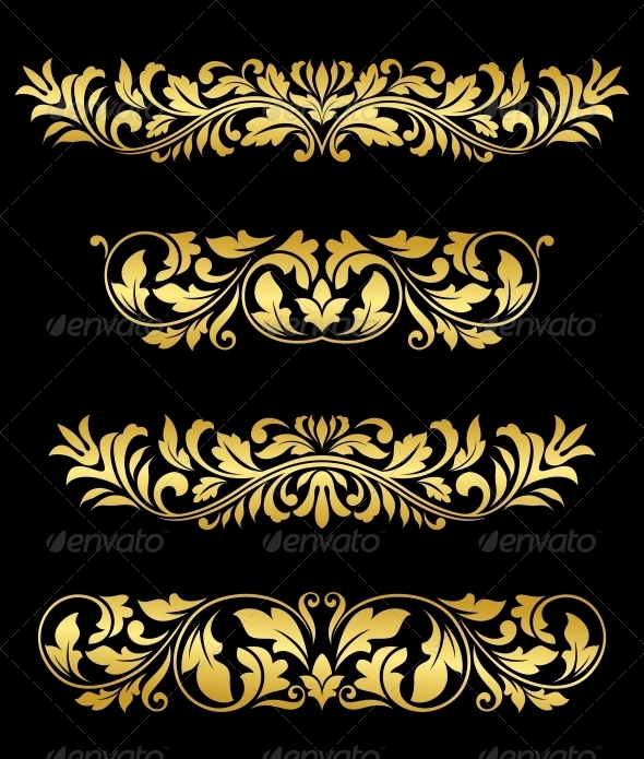 Retro gold floral elements and embellishments