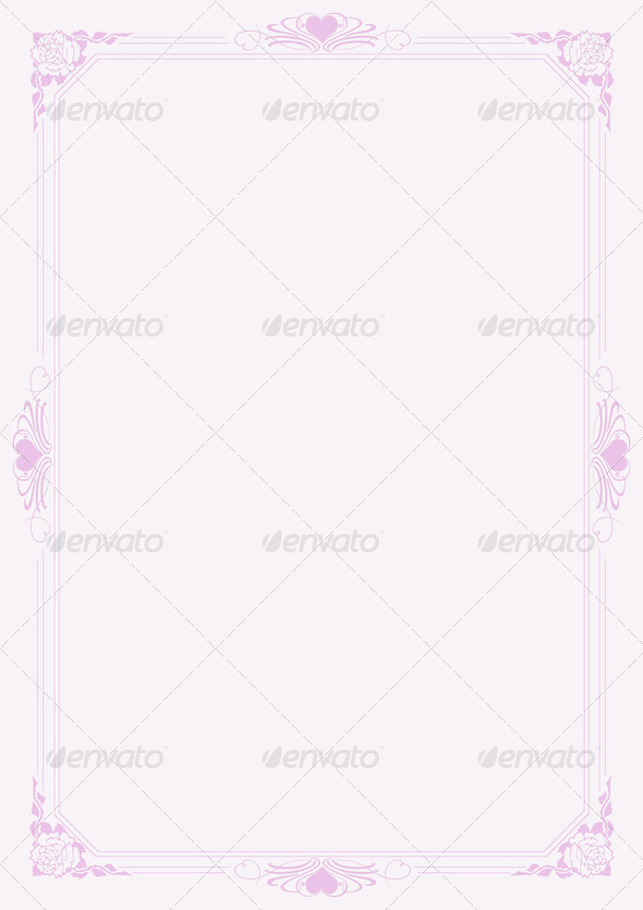Love letter A4 paper with decorative borders 5 - Stock Photo - Images