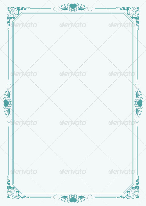 Love letter A4 paper with decorative borders 8 - Stock Photo - Images
