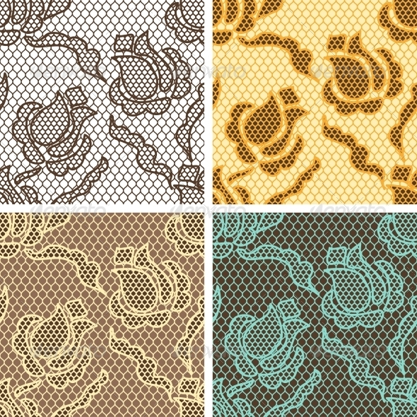 GraphicRiver Lace Fabric Seamless Patterns 4072896