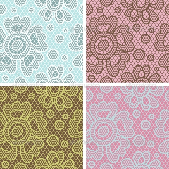 GraphicRiver Lace Fabric Seamless Patterns 4072914