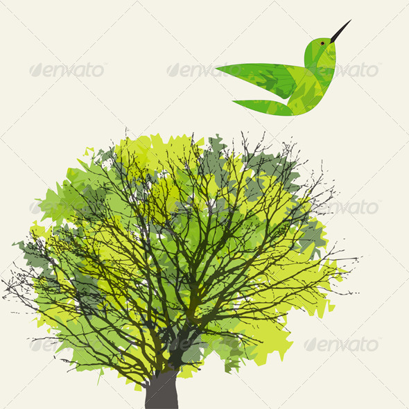 GraphicRiver Tree and Hummingbird 4072982