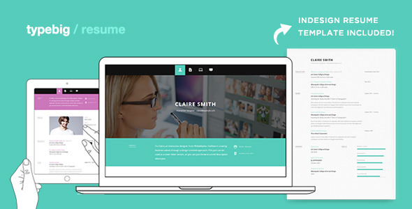 ThemeForest Typebig Resume Responsive vCard Template 4072126