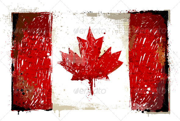 Grungy Canadian Flag