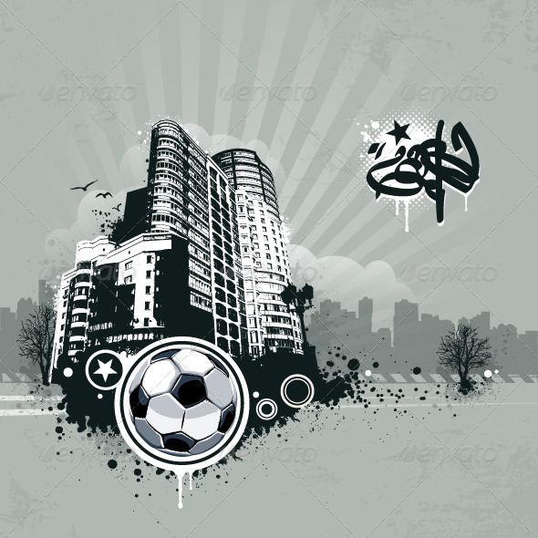 GraphicRiver Grunge Urban Soccer Background 4073626