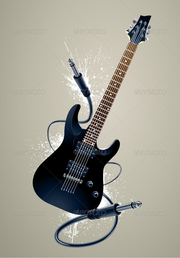 GraphicRiver Black Guitar with Cables 4073659