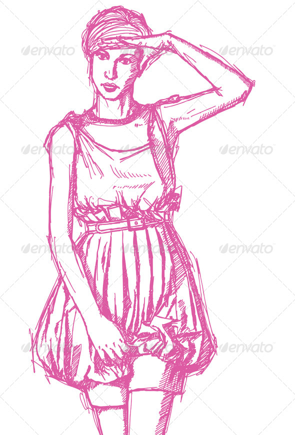 GraphicRiver Sketch Woman with Hand near her Head 4073737