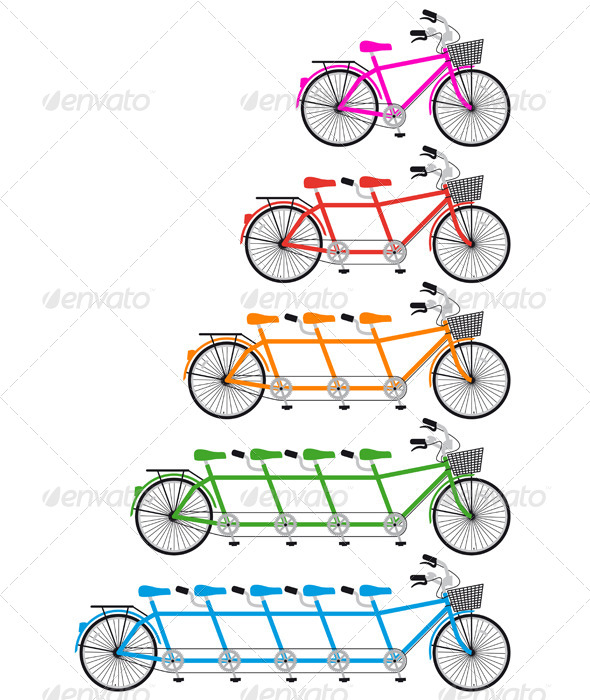 Tandem Bicycle, Team bike Set, Vector