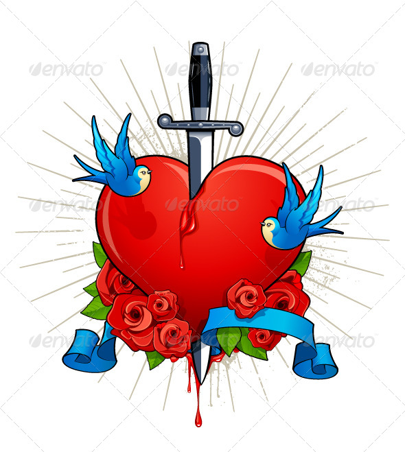 Vector Illustration of Heart with Birds