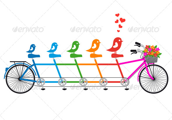 GraphicRiver Tandem Bicycle With Birds Family vector 4073766