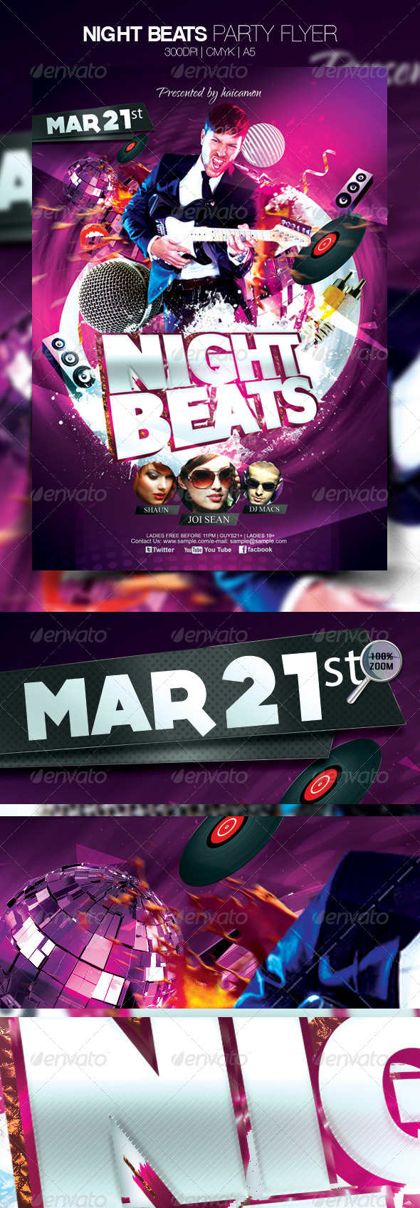 GraphicRiver Night Beats Party Flyer 4073839
