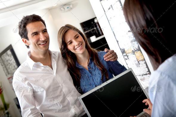 Customers at a hotel - Stock Photo - Images