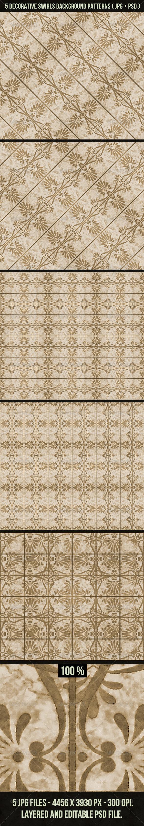 GraphicRiver 5 Decorative Swirls Background Patterns 4075458