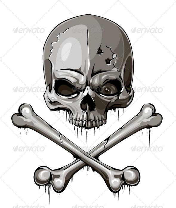Decrepit Skull With Two Crossed Bones