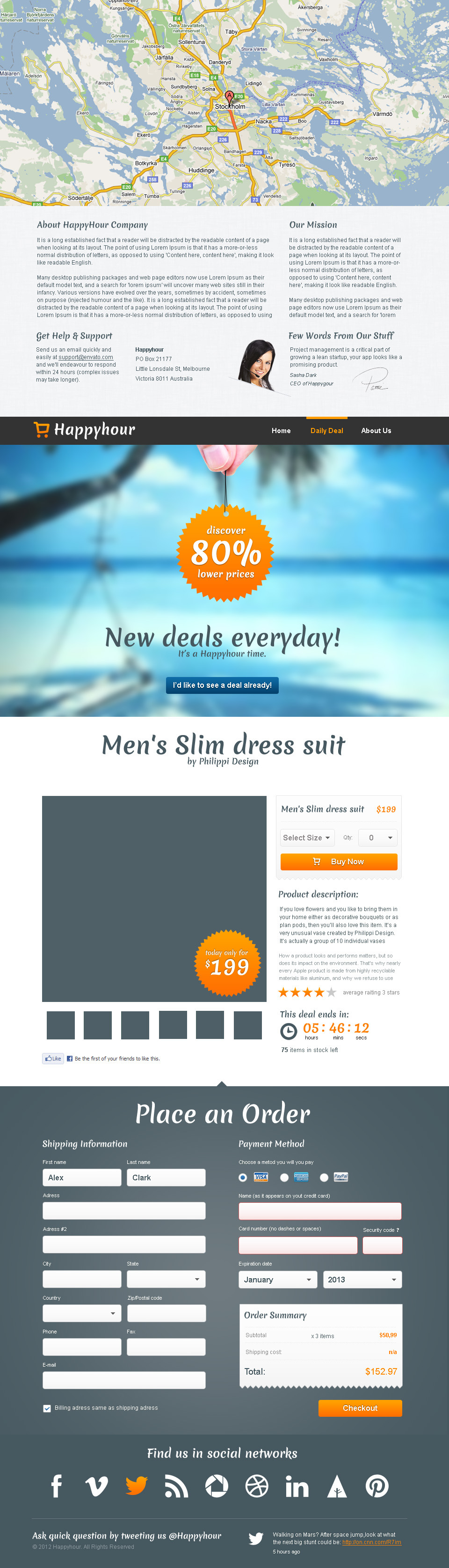 HappyHour - One Page Shopping / Product Template