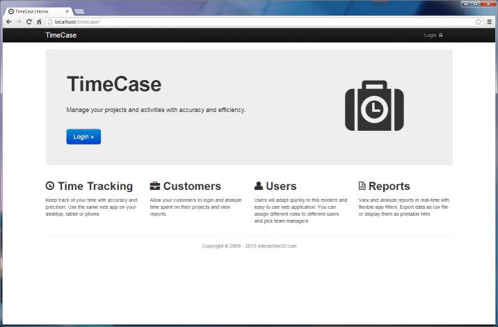 TimeCase - time tracking web app