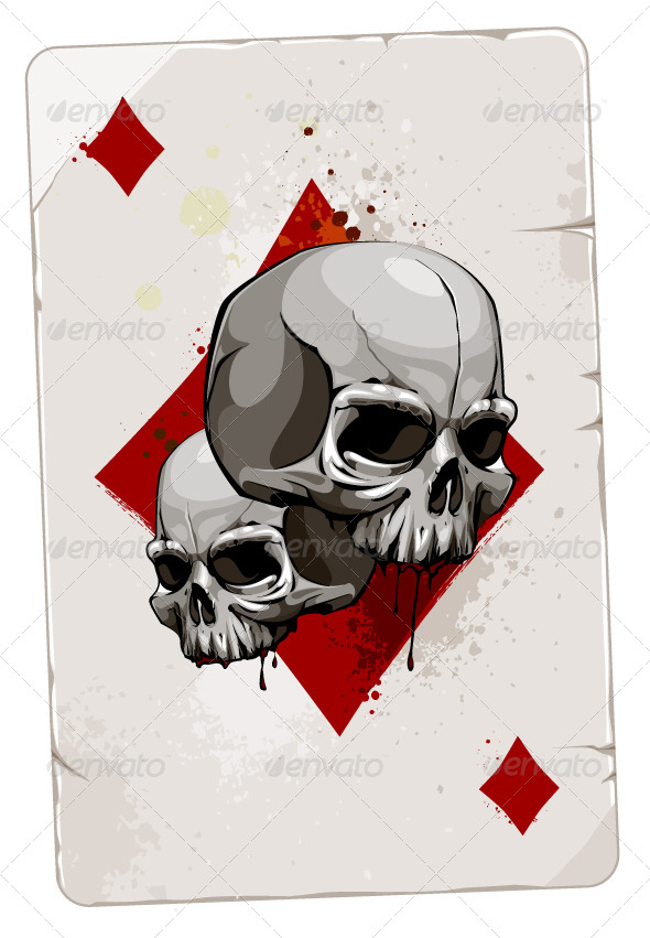 GraphicRiver Poker Card with Skulls 4076516