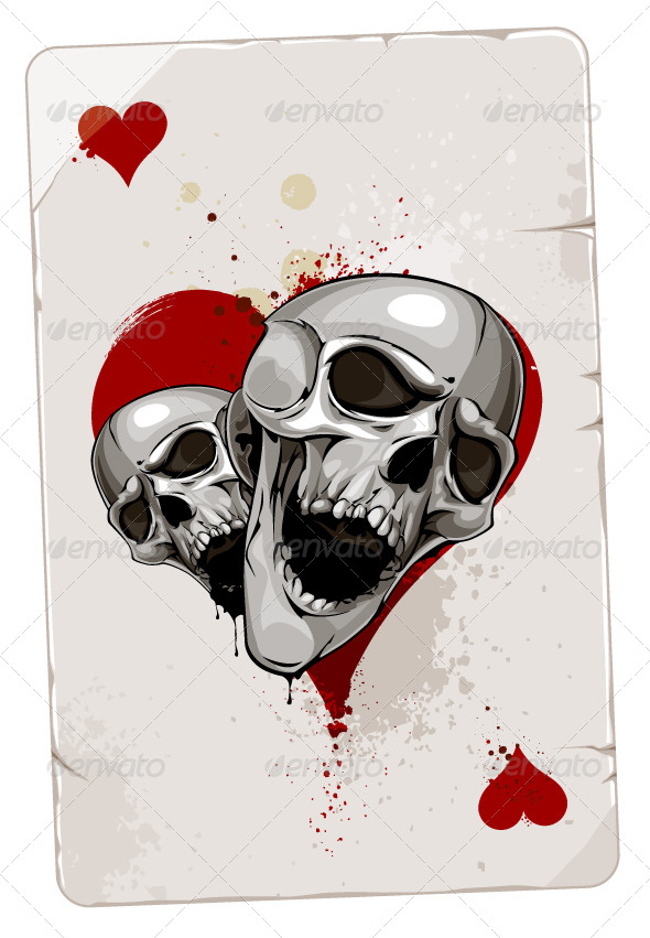 GraphicRiver Poker Card with Skulls 4076620