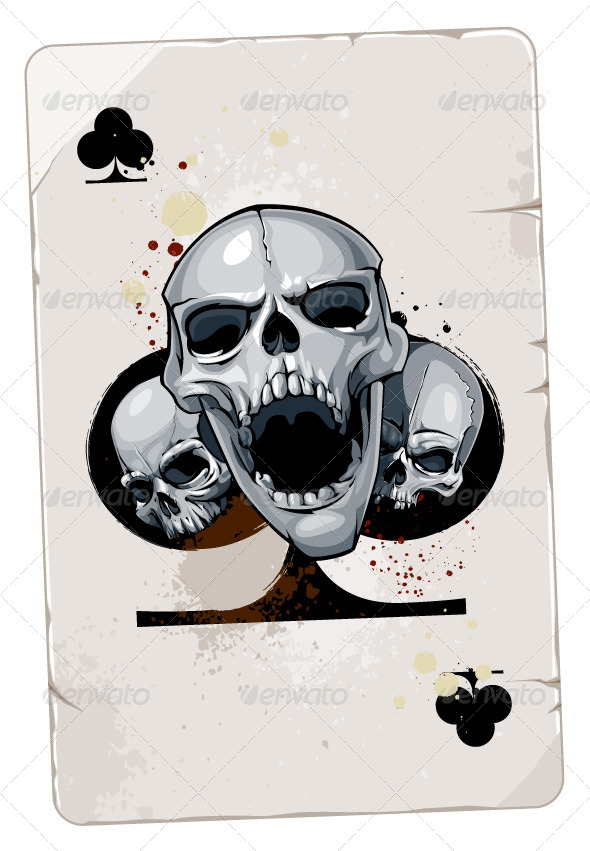 Skulls with Poker Cards