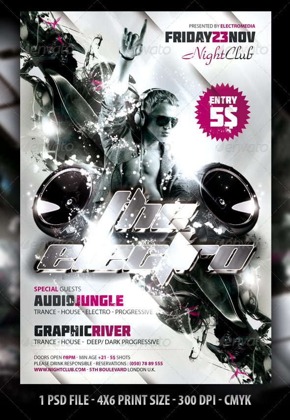 Electro Night Club Party Flyer / Poster - Clubs & Parties Events
