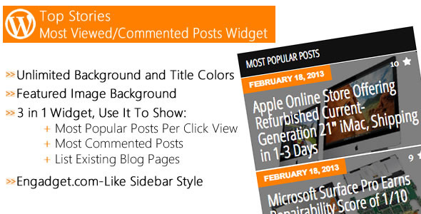 CodeCanyon Top Stories Most Viewed Commented Posts Widget 4076959