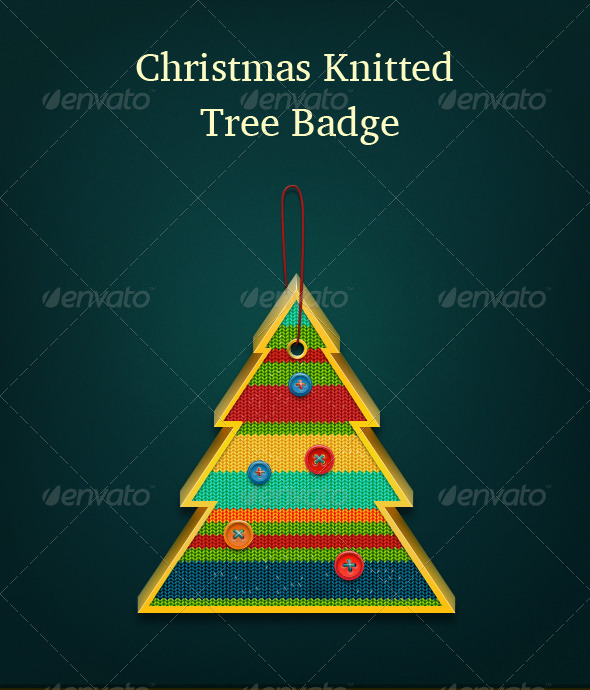 Christmas Knitted Tree Badge - Objects Illustrations