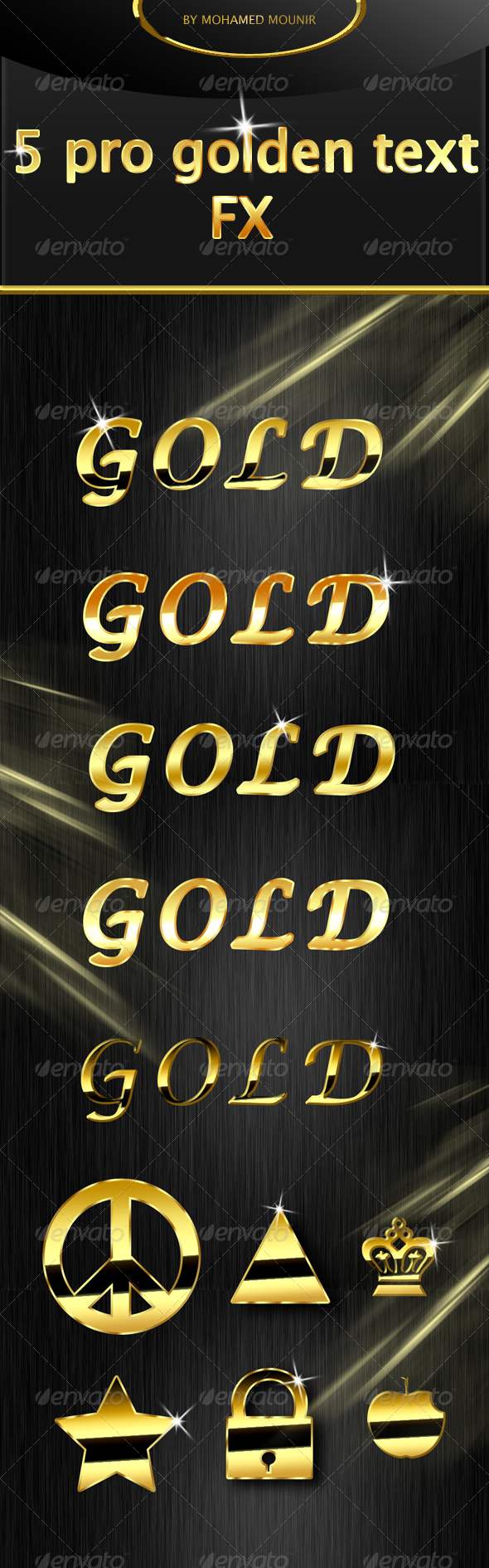 Add on photoshop actions text effects text style golden gold effect