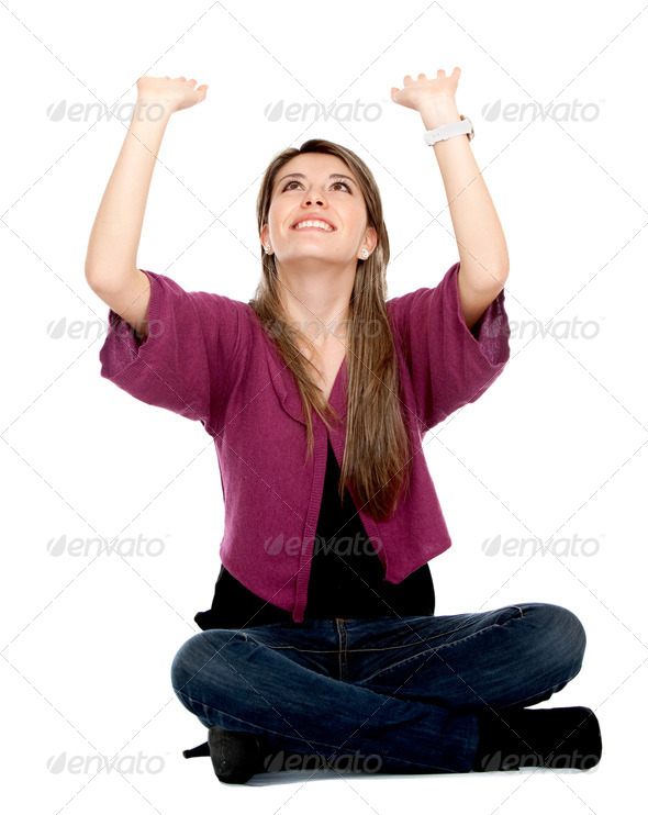 lifting an imaginary object - Stock Photo - Images