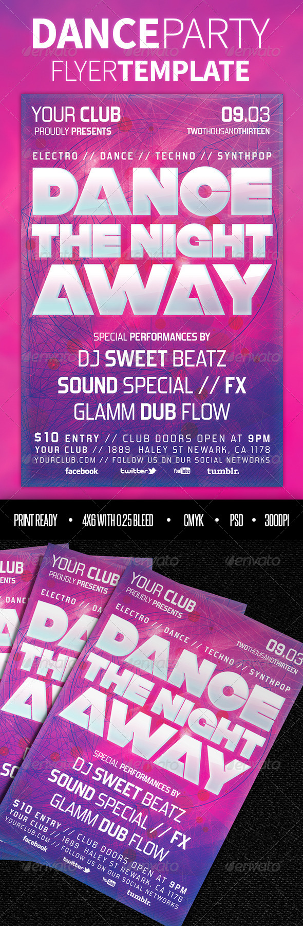 GraphicRiver Dance Party Flyer Template 3960446