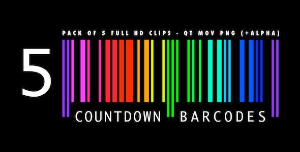 Countdown Barcodes Rainbow Pack of 5