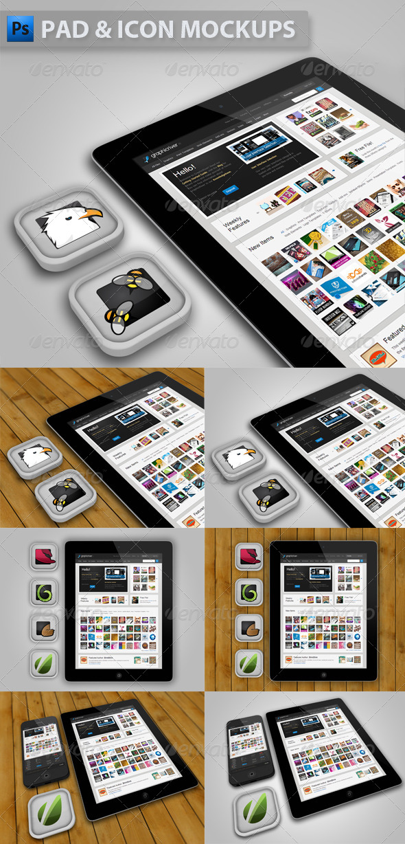 Pad with Icons Mockup - Mobile Displays