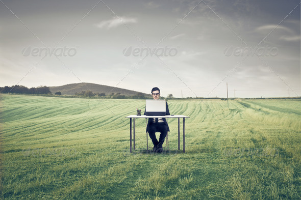 Working in the Nature - Stock Photo - Images