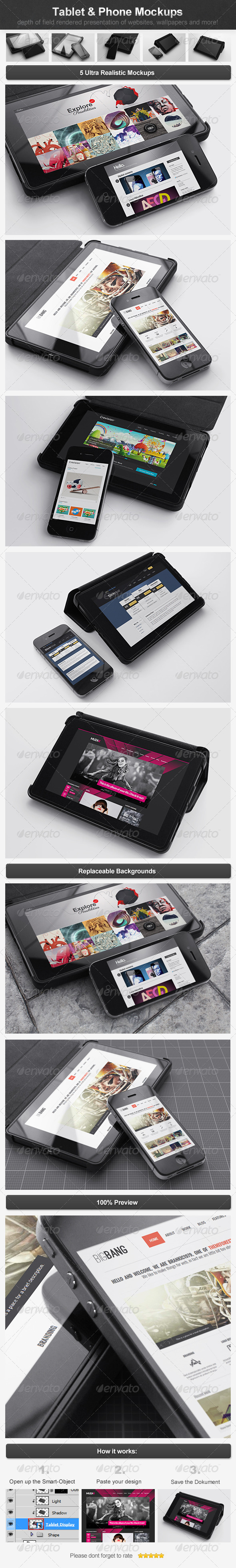 Tablet & Phone Mockups - Multiple Displays