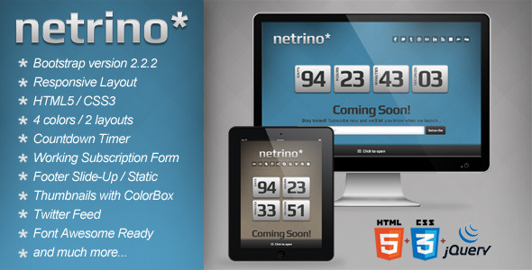 ThemeForest Netrino Bootstrap Coming Soon Page 4079657