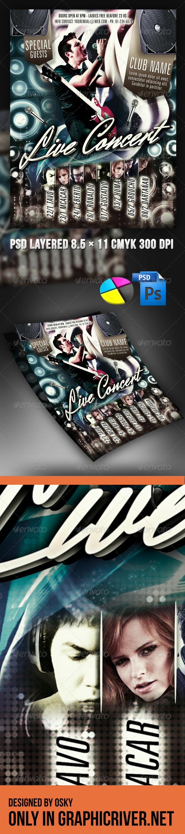 Live Concert Flyer - Clubs & Parties Events