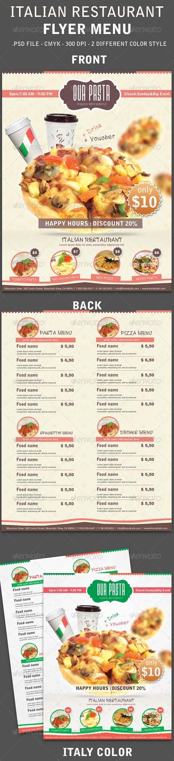 GraphicRiver Italy Restaurant Menu Flyer 3959326