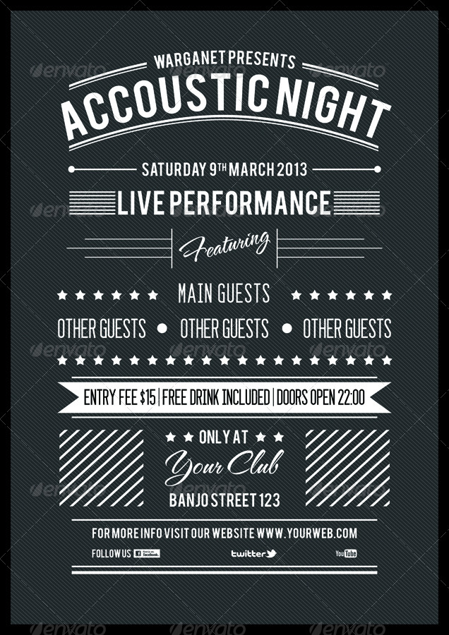 Minimalist Typography Accoustic Flyer by warganet – Typography Flyer