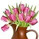 Bouquet of Pink Tulips in Clay Pitcher - GraphicRiver Item for Sale