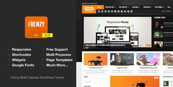 ThemeForest Frenzy Responsive Multi-Purposes Theme 4065465