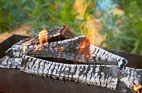PhotoDune Fire on coals in a mangal 4082713