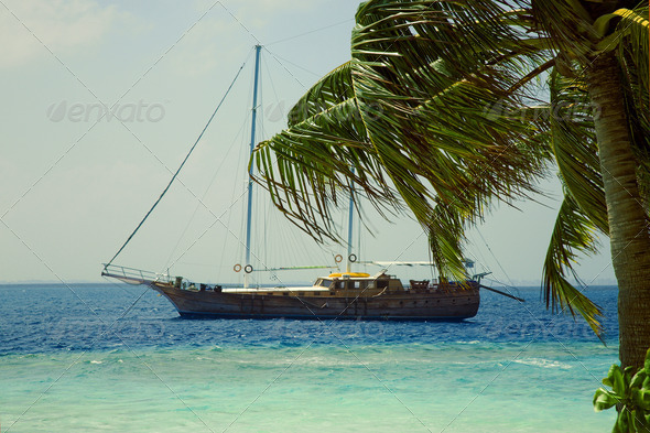 PhotoDune Yacht at coast of small island at the Indian ocean 4082726