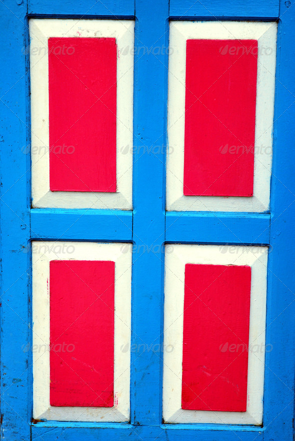 PhotoDune red and blue wooden door 4082312