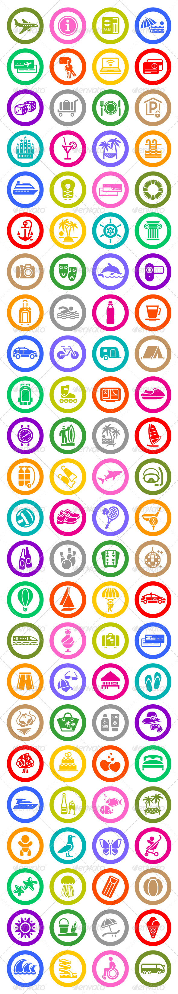GraphicRiver 96 pcs Vacation Icons Travel Symbols 4083370