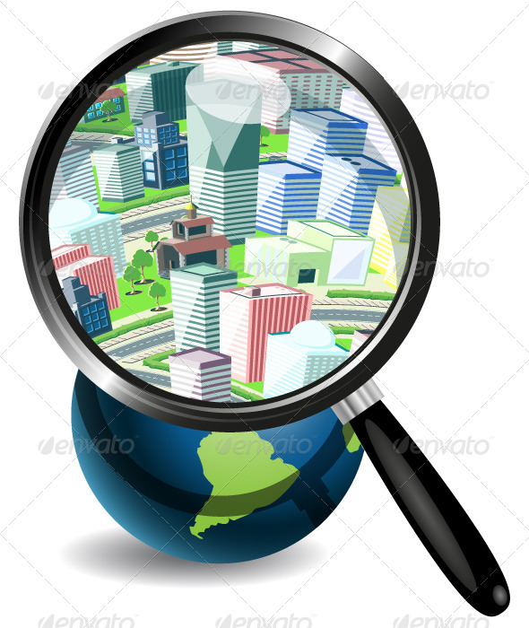 GraphicRiver Globe Under a Magnifying Glass and City 4083823